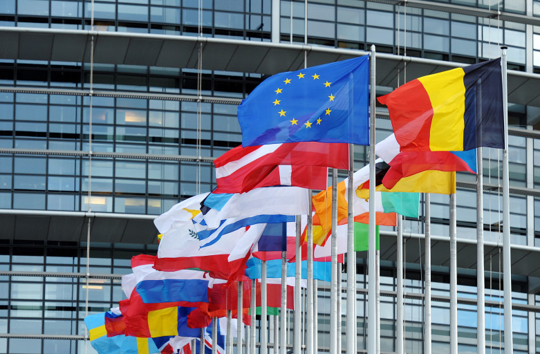 The European Union flag fly amongst European Union member countries' national flags in front of the European Parliament on October 12, 2012 in Strasbourg, eastern France. The Nobel Peace Prize was awarded on October 12, 2012 to the European Union, an institution currently wracked by crisis but credited with bringing more than a half century of peace to a continent ripped apart by World War II.   AFP PHOTO/FREDERICK FLORIN        (Photo credit should read FREDERICK FLORIN/AFP/Getty Images)